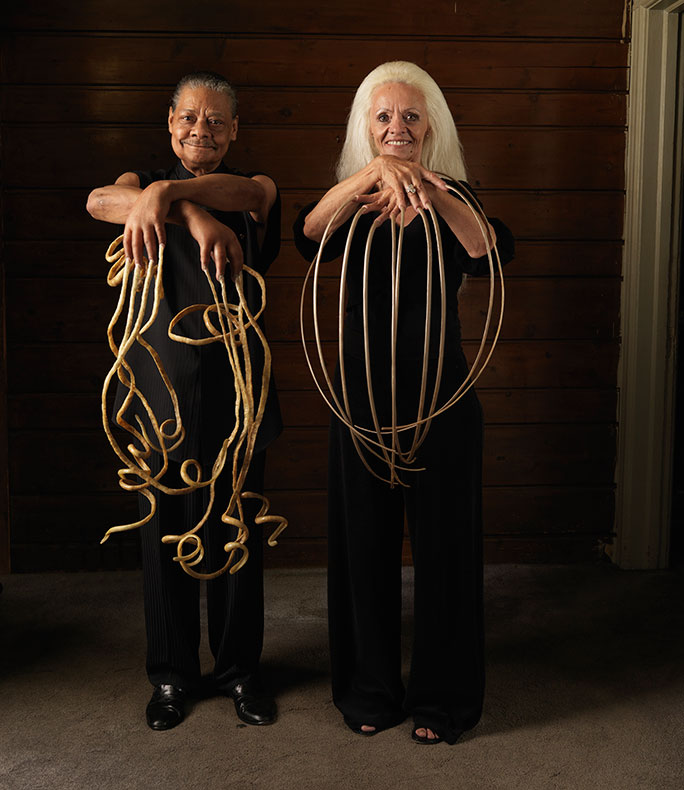 Lee Redmond and Melvin Boothe (both USA) hold the female and male records for the longest fingernails on a pair of hands ever