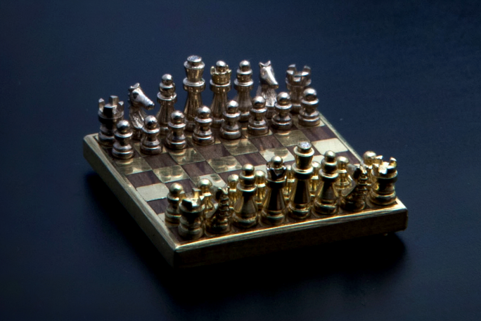 Smallest handmade chess set 2