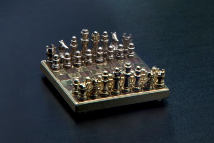 Smallest handmade chess set