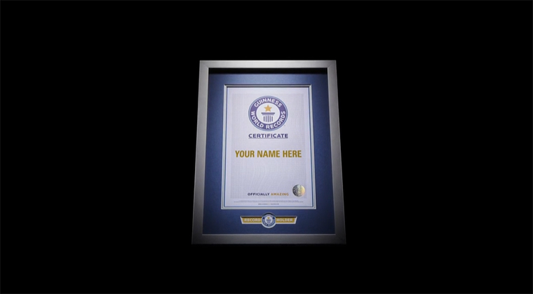 Guinness World Records certificate, your name could go here