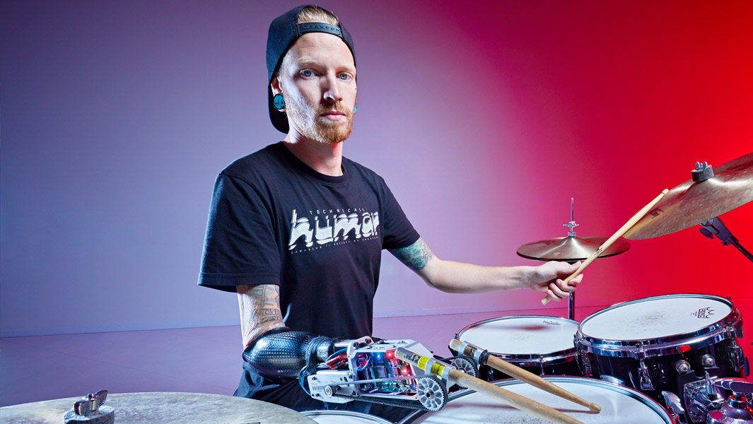 The most drumbeats in one minute using a drumstick prosthetic is 2,400, achieved by Jason Barnes using a prosthetic arm created by Gil Weinberg