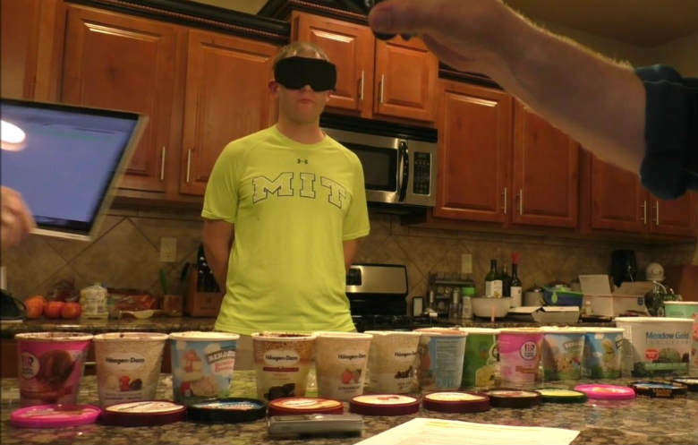 Most flavours of ice cream identified in one minute blindfolded